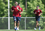 Clint Dempsey (l) followed by Pablo Mastroeni and Claudio Reyna (r) during a conditioning exercise on Sunday, May 14th, 2006 at SAS Soccer Park in Cary, North Carolina. The United States Men's National Soccer Team held a training session as part of their preparations for the upcoming 2006 FIFA World Cup Finals being held in Germany.