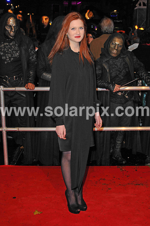 **ALL ROUND PICTURES FROM SOLARPIX.COM** **WORLDWIDE SYNDICATION RIGHTS** Red carpet arrivals at the World Premiere of Harry Potter and The Deathly Gallows. Held at the Odeon Leicester Square and Empire Leicester Square in London, on Thursday November 11, 2010. This pic: Bonnie Wright JOB REF: 12468 MSR DATE: 11_11_2010 **MUST CREDIT SOLARPIX.COM OR DOUBLE FEE WILL BE CHARGED** **MUST AGREE FEE BEFORE ONLINE USAGE** **CALL US ON: +34 952 811 768 or LOW RATE FROM UK 0844 617 7637**