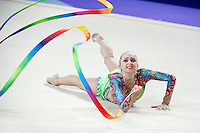 MARINA  DURUNDA of Azerbaijan performs with ribbon at 2016 European Championships at Holon, Israel on June 18, 2016.