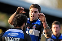 Matt Banahan looks to congratulate try-scorer Joe Maddock on his team's fifth try. Guinness Premiership match between Bath and Worcester Warriors on February 20, 2010 at the Recreation Ground in Bath, England. [Mandatory Credit: Patrick Khachfe/Onside Images]