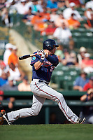 Minnesota Twins designated hitter Ryan Sweeney (26) at bat during a Spring Training game against the Baltimore Orioles on March 7, 2016 at Ed Smith Stadium in Sarasota, Florida.  Minnesota defeated Baltimore 3-0.  (Mike Janes/Four Seam Images)