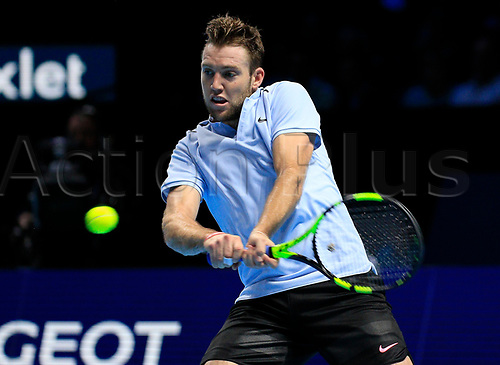 18th November 2017, O2 Arena, London, England; Nitto ATP Tennis Finals; Jack Sock (USA) plays a backhand shot in his match with Grigor Dimitrov (BUL)
