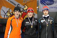 SCHAATSEN: HEERENVEEN: Thialf, Viking Race, 18-03-2011, Podium Girls13 1000m, Naomi Weeland (INT), Loes Adegeest (NED), Lea Dommerich (GER), ©foto Martin de Jong