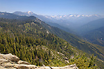 View of the High Sierra mountain peaks and forest from the top of Moro Rock, Sequoia National Park, California