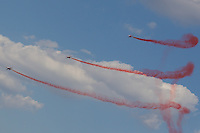 International Air Show at the Hungarian Air Force base in Kecskemet (about 87 km South-East of the capital city Budapest), Hungary on August 03, 2013. ATTILA VOLGYIF-5 aircrafts of the Turkish Stars squadron from the Turkish Airforce perform during the