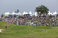 Spectators have the perfect view of the 9th green  during Round Two of the 100th Open de France, played at Le Golf National, Guyancourt, Paris, France. 01/07/2016. Picture: David Lloyd | Golffile.<br /> <br /> All photos usage must carry mandatory copyright credit (&copy; Golffile | David Lloyd)