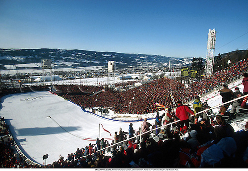 SKI JUMPING SLOPE, Winter Olympic Games, Lillehammer, Norway, 94. Photo: Glyn Kirk/Action Plus....1994.skiing.olympics.venues.snow.geneal view.crowds.ski-jump.ski-jumping.winter sport.winter sports.wintersport.wintersports.nordic.skijump ski-jump ski jumper jumping jump