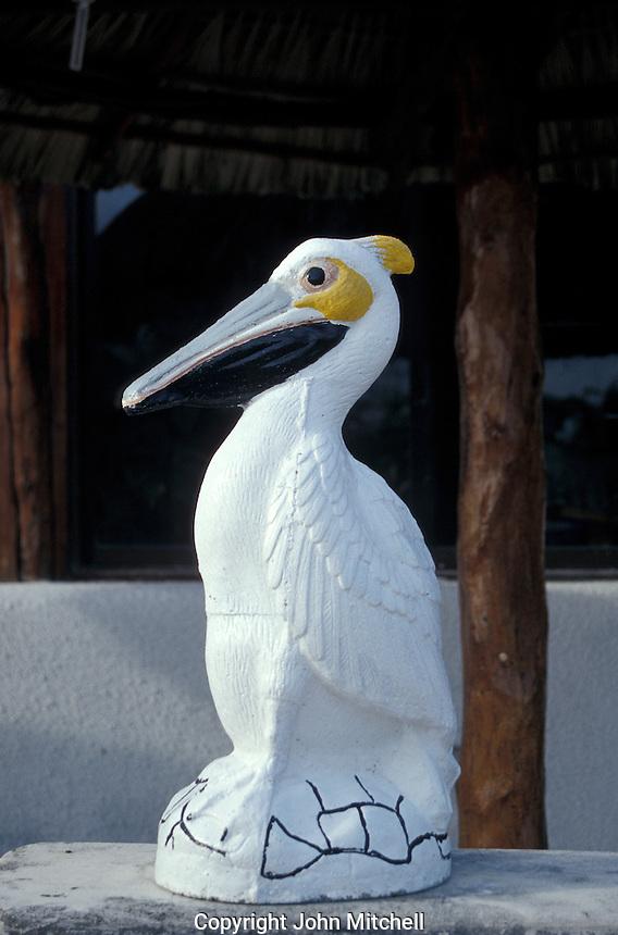 Pelican statue in Puerto Morelos, Quintana Roo, Mexico