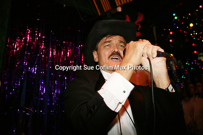 Randy Jones (original cowboy Village People) sings YMCA on April 28, 2010 at Will Clark's P*rno Bingo at Pieces, New York City, New York to benefit the American Foundation for Suicide Prevention - an event presented by We Love Soaps (Damon Jacobs and Roger Newcomb). (Photos by Sue Coflin/Max Photos)