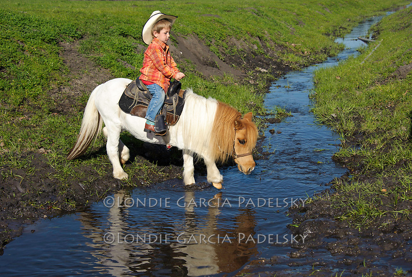 Colten White riding his miniature horse across the creek at the Guidetti Ranch Roundup, San Luis Obispo, California