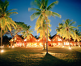 MADAGASCAR, illuminated Anjajavy Hotel at night