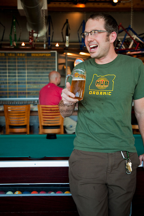 Hopworks Urban Brewery located in Southeast Portland is Portland's first Eco-Brewpub and offers all organic handcrafted beers, fresh local ingredients used for its menu items and located in a refurbished, sustainable building.  Pictured is owner/brewmaster Christian Ettinger inside the restaurant.