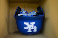 A Kentucky Wildcats batting helmet is ready to be put to use prior to the game against the North Carolina Tar Heels at Boshmer Stadium on February 17, 2017 in Chapel Hill, North Carolina.  The Tar Heels defeated the Wildcats 3-1.  (Brian Westerholt/Four Seam Images)