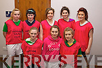 Moyvane Team Front from left: Melissa McEnery, Margaret Mulvhill, Moira O'Flaherty. Back from left:  Niamh Kilkenny, Mairead Kennelly, Cianna Guiney, Vicky Moore Shanon McCarthypictured at the Youth Clubs indoor soccer competition at the Aura Leisure Centre in Killarney on Sunday.