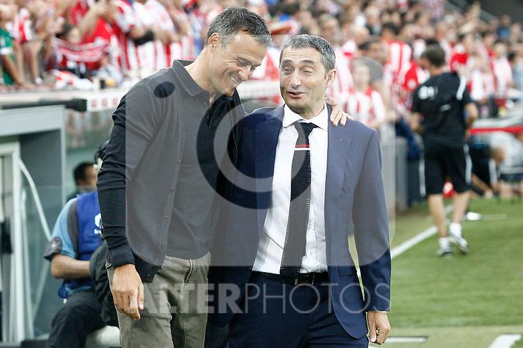 Athletic de Bilbao's coach Ernesto Valverde (r) and FC Barcelona's coach Luis Enrique Martinez during La Liga match. August 28,2016. (ALTERPHOTOS/Acero)