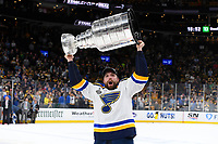 June 12, 2019: St. Louis Blues left wing David Perron (57) hoists the Stanley Cup at game 7 of the NHL Stanley Cup Finals between the St Louis Blues and the Boston Bruins held at TD Garden, in Boston, Mass. The Saint Louis Blues defeat the Boston Bruins 4-1 in game 7 to win the 2019 Stanley Cup Championship.  Eric Canha/CSM
