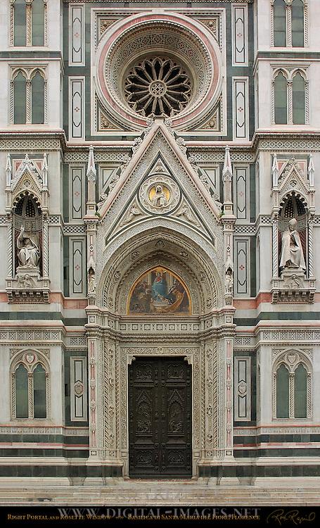 Lunette Tympanum Rosette Window Statues of Pope Eugenius IV St Antoninus Right Portal 19th c Facade Santa Maria del Fiore Florence