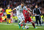 Karim Benzema (L) of Real Madrid competes for the ball with James Rodriguez of FC Bayern Munich during the UEFA Champions League Semi-final 2nd leg match between Real Madrid and Bayern Munich at the Estadio Santiago Bernabeu on May 01 2018 in Madrid, Spain. Photo by Diego Souto / Power Sport Images