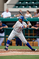 St. Lucie Mets first baseman Jhoan Urena (24) at bat during the first game of a doubleheader against the Lakeland Flying Tigers on June 10, 2017 at Joker Marchant Stadium in Lakeland, Florida.  Lakeland defeated St. Lucie 6-5 in fourteen innings.  (Mike Janes/Four Seam Images)