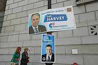 September6, 2012 - Montreal (Quebec) CANADA - PQ (Parti Quebecois candidate Daniel Breton win in Sainte-Marie Saint-Jacques riding during the provincial election. <br /> In photo : his poster underneath Luc Harvey , conservative candidate<br /> <br /> <br /> <br /> PHOTO :  Agence Quebec Presse