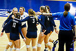 PENSACOLA, FL - DECEMBER 09: Concordia University, St. Paul players react after scoring a point during the Division II Women's Volleyball Championship held at UWF Field House on December 9, 2017 in Pensacola, Florida. (Photo by Timothy Nwachukwu/NCAA Photos via Getty Images)