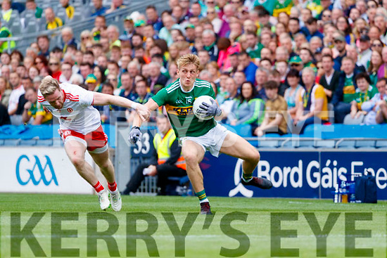 Killian Spillane, Kerry in action against Frank Burns, Tyrone during the All Ireland Senior Football Semi Final between Kerry and Tyrone at Croke Park, Dublin on Sunday.