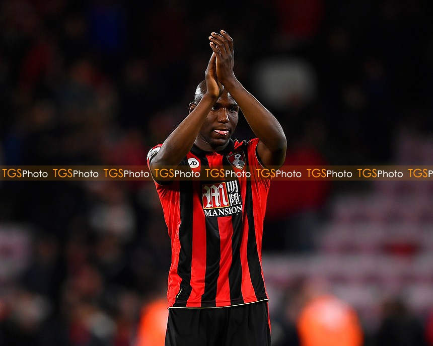 Benik Afobe of AFC Bournemouth salutes the home fans at the final whistle  during AFC Bournemouth vs Swansea City, Premier League Football at the Vitality Stadium on 18th March 2017