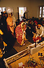 Giving gifts to the bride and groom at wedding ceremony in Patiala; Punjab; India,