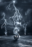 Illustrative image of lightening striking on dollar signs representing recession