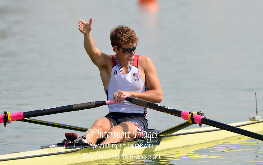 Plovdiv BULGARIA. USA LM1X Andrew CAPMBELL Jr.  Silver Medalist Men's Lightweight Single Sculls. 2012 FISA Junior and Non Olympic . Rowing Championships, Plovdiv Rowing Course.     09:02:05  Sunday  19/08/2012   [Mandatory Credit Peter Spurrier: Intersport Images]...