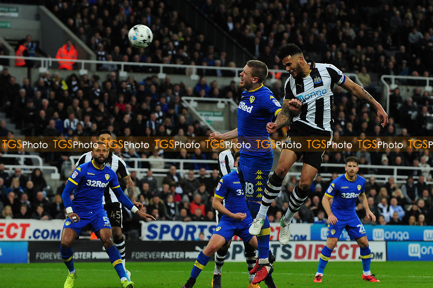 Jamaal Lascelles of Newcastle United glances a header across goal during Newcastle United vs Leeds United, Sky Bet EFL Championship Football at St. James' Park on 14th April 2017