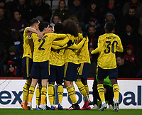 27th January 2020; Vitality Stadium, Bournemouth, Dorset, England; English FA Cup Football, Bournemouth Athletic versus Arsenal; Bukayo Saka of Arsenal celebrates with his team after scoring in 5th minute 0-1