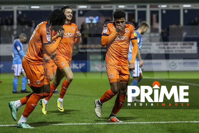 GOAL - James Justin of Luton Town (right) celebrates with Pelly Ruddock Mpanzu of Luton Town (left) after he scores the opening goal during the Sky Bet League 1 match between Luton Town and Bradford City at Kenilworth Road, Luton, England on 27 November 2018. Photo by David Horn.
