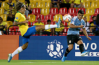 BUCARAMANGA - COLOMBIA, 06-02-2020: Federico Viñas de Uruguay en acción durante partido entre Brasil U-23 Y Uruguay U-23 por el cuadrangular final como parte del torneo CONMEBOL Preolímpico Colombia 2020 jugado en el estadio Alfonso Lopez en Bucaramanga, Colombia. / Federico Viñas of Uruguay in action during the match between Brazil U-23 and Uruguay U-23 for the final quadrangular as part of CONMEBOL Pre-Olympic Tournament Colombia 2020 played at Alfonso Lopez stadium in Bucaramanga, Colombia. Photo: VizzorImage / Jaime Moreno / Cont