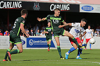 James Dobson of Dagenham and Redbridge and Mark Kitching of Hartlepool United during Dagenham & Redbridge vs Hartlepool United, Vanarama National League Football at the Chigwell Construction Stadium on 14th September 2019