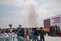 China - Ningxia - The grand opening of the Chateau Copower Jade, on the outskirts of Yinchuan. The 80-hectare-vineyard and the winery's modern structure cost 19 million euros and won the 2018 RVF Wine Design Award. <br />