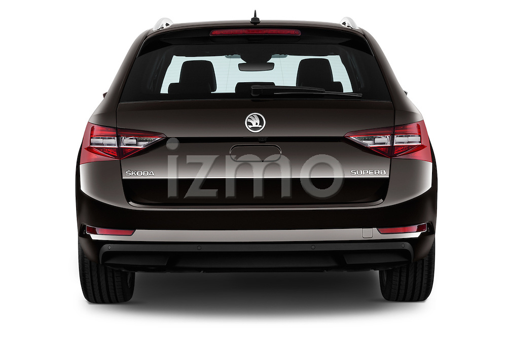 Straight rear view of 2016 Skoda Superb Combi Laurin & Klement 5 Door Wagon Rear View  stock images