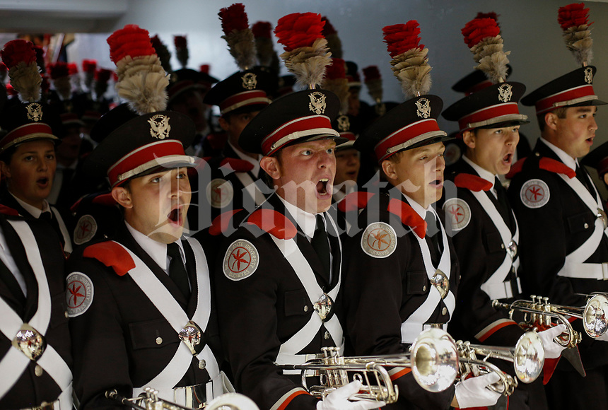 Members of the Ohio State University Marching Band's trumpet section cheer before entering St. John Arena for Skull Session before a NCAA college football game between the Ohio State Buckeyes and the Oklahoma Sooners on Saturday, September 9, 2017 at Ohio Stadium in Columbus, Ohio. [Joshua A. Bickel/Dispatch]