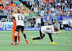 The Hague, Netherlands, June 06: Benjamin Weiss #15 of Germany and Mink van der Weerden #30 of The Netherlands in physical contact during the field hockey group match (Men - Group B) between Germany and The Netherlands on June 6, 2014 during the World Cup 2014 at Kyocera Stadium in The Hague, Netherlands. Final score 0-1 (0-1) (Photo by Dirk Markgraf / www.265-images.com) *** Local caption *** Mink van der Weerden #30 of The Netherlands, Benjamin Weiss #15 of Germany, Martin Haener #6 of Germany