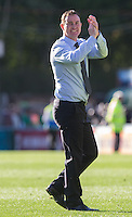 Derek Adams manager of Plymouth Argyle celebrates his teams win during the Sky Bet League 2 match between Wycombe Wanderers and Plymouth Argyle at Adams Park, High Wycombe, England on 12 September 2015. Photo by Andy Rowland.