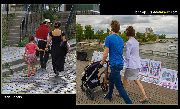 France, Paris. Stage Technique. <br /> The strong diagonal lines lead the viewer and these French families into the frame. Generally, subjects in groups of three are more balanced than two.  Make a composition and let a French family walk through your image.