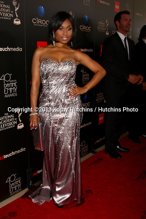 LOS ANGELES - JUN 16:  Angell Conwell arrives at the 40th Daytime Emmy Awards at the Skirball Cultural Center on June 16, 2013 in Los Angeles, CA