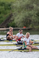 Lucerne, SWITZERLAND<br /> <br /> DEN W1X. Fie Udby ERICHSEN, sit, between the two other qualifiers for Rio, at the 2016 European Olympic Qualifying Regatta, Lake Rotsee.<br /> <br /> Tuesday  24/05/2016<br /> <br /> [Mandatory Credit; Peter SPURRIER/Intersport-images]