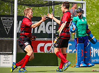 Sam Lane (L) and Joshua Pollard of Canterbury celebrate a goal during the Canterbury v Auckland men 3rd place game. National Hockey League Finals Day action, National Hockey Stadium, Wellington, New Zealand. Sunday 23 September 2018. Photo: Simon Watts/www.bwmedia.co.nz/Hockey NZ
