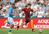Calcio, Serie A: Napoli vs Roma. Napoli, stadio San Paolo, 15 ottobre. <br /> Roma&rsquo;s Stephan El Shaarawy, right, is chased by Napoli&rsquo;s Allan during the Italian Serie A football match between Napoli and Roma at Naples' San Paolo stadium, 15 October 2016. Roma won 3-1.<br /> UPDATE IMAGES PRESS/Isabella Bonotto
