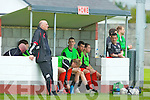 Paul White calls his dad Tralee Dynamos manager Noel White during their league clash against Shamrock Rovers  in Tralee on Sunday..