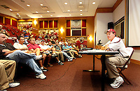 TALLAHASSEE, FL 8/8/10-FSU-080810 CH-Florida State Head Coach Jimbo Fisher talks with reporters during his first media day as leader of the Seminole football team Sunday in Tallahassee. .COLIN HACKLEY PHOTO