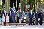 King Felipe VI of Spain (C), Princess Leonor of Spain (2l), Princess Sofia of Spain (l), Queen Letizia of Spain (c-r), President of Government of Spain Mariano Rajoy (3r), Minister of Defense Pedro Morenes (2r) and the President of the Region of Madrid Tomas Gonzalez (r) attend Spain's National Day Military Parade. October 12 ,2014. (ALTERPHOTOS/Pool)