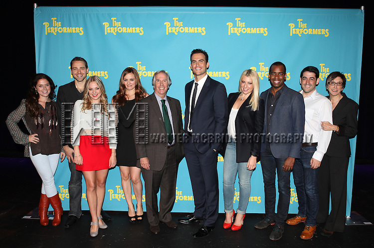 "The cast and creative team of ""The Performers"", from left, producer Amanda Lipitz, playwright David West Read, actress Jenni Barber, actress Alicia Silverstone, actor Henry Winkler, actor Cheyenne Jackson, actress Ari Graynor, actor Daniel Breaker, director Evan Cabney and producer Robyn Goodman attends press event to introduce the cast and creators of the new Broadway play ""The Performers""at the Hard Rock Cafe on Tuesday, Sept. 25, 2012 in New York. (Photo by © Walter McBride/WM Photography//AP)"