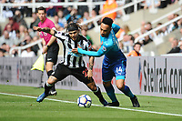DeAndre Yedlin of Newcastle United battles with Pierre-Emerick Aubameyang of Arsenal during Newcastle United vs Arsenal, Premier League Football at St. James' Park on 15th April 2018